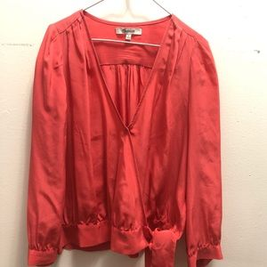 Madewell tie waste crop blouse